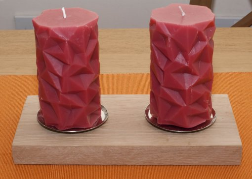 Oak pillar candle holder