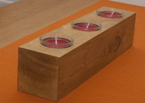 Reclaimed pine chunky tealight candle holder